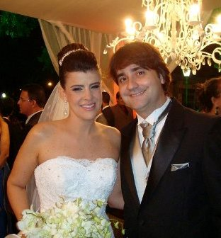 Os noivos Vivianne e Fernando Experidião