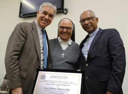Deputado José Neto, Irmã Rosa Aparecida e  Arcebispo Dom Zanoni Demettino Castro