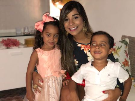 Renata com seus filhos Benicio e Alice Silva Lucas